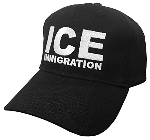 (ICE - Immigration Deport Wall Republican - Embroidered Baseball Cap Hat, Black)
