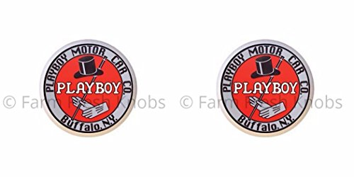 SET OF 2 KNOBS - Playboy Motor Car Co Buffalo NY - Vintage Gas Station Signs - DECORATIVE Glossy CERAMIC Cupboard Cabinet PULLS Dresser Drawer - Ny Buffalo Outlets