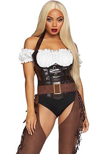 Leg Avenue Women's 2 Pc Cowgirl Costume, Brown/White, Small
