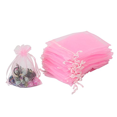 HRX Package 100pcs Organza Bags,Wedding Favors Gift Drawstring Bags Jewelry Pouches