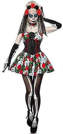 9d177bbd424 Forever Young Ladies Day of The Dead Fancy Dress Sugar Skull Dress Skeleton  Costume Womens Halloween Fancy Dress UK 16