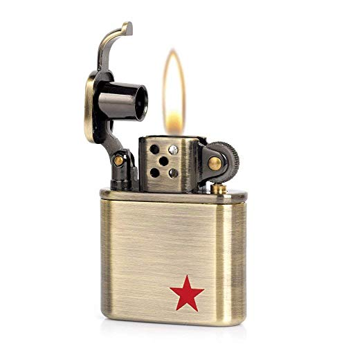Pure Copper Antique Style Lift Arm Oil Petrol Metal Cigarette Lighter (Red Star)