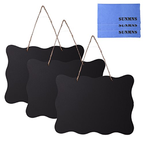 Sunmns 7.9x10 Inch Black Vintage Sign Chalkboard Double Sided Erasable Message Board with Hanging String and Cleaning Cloths for Wedding, Kitchen Pantry, Kids Crafts and Wall Decor, 3 Pack