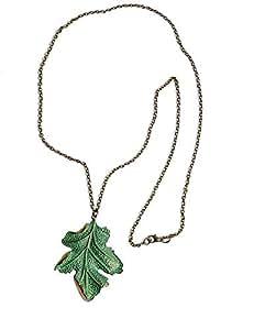 Green leaf pendant necklace 18k gold plated zinc alloy leaf pendant