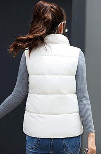 Cappotto Bianco Trapuntato Cerniera Eku Donne Imbottito Collare Piumino Delle Puffer Del Maniche Basamento qwxZHq7z