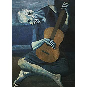 The Old Guitarist by Pablo Picasso Poster Print 1903 - Laminated - Old Man with Guitar Wall Art - 18
