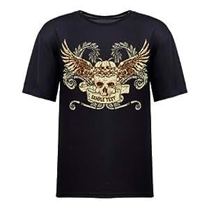 Custom Men's Stylish&Coolest Skulls Print Round Neck Short Sleeve Cotton T-shirts, 8 Colors Available