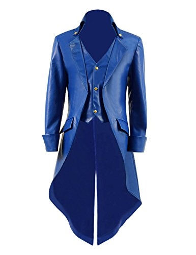 Qipao Boys Steampunk Victorian Coat Gothic Tailcoat Jacket Halloween Cosplay Costume (Big Boys 8, Blue -