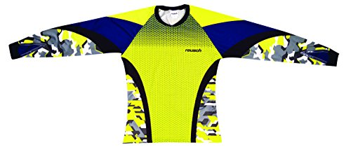 Reusch Soccer Women's Camo Pro-Fit Long Sleeve Goalkeeper Jersey, Safety Yellow, Youth Large