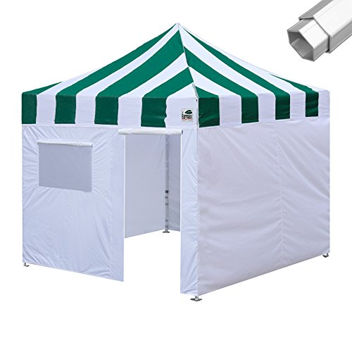 Eurmax PRO 10X10 Pop up Canopy Wedding Party Commercial Tent W/4 Walls +Roller Bag (Stripe Green White)
