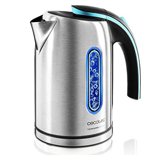 Cecotec Hervidor de Agua Electrico ThermoSense 270 Steel 1,7 litros, Libre de BPA, 2200 W de Potencia, Base 360º, Filtro Antical Desmontable, Doble Sistema de Seguridad, Acero Inoxidable