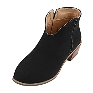 02bdf594c64a Womens Vintage Suede Zipper Ankle Boots – Casual Round Toe Chunky Square  Heel Booties Solid Color Shoes Size 5.5-910.5
