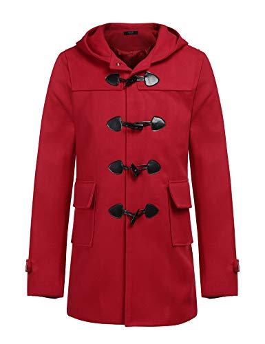 COOFANDY Men's Woolen Trench Coat Fashion Classic Overcoat Hoodie Long Jacket -