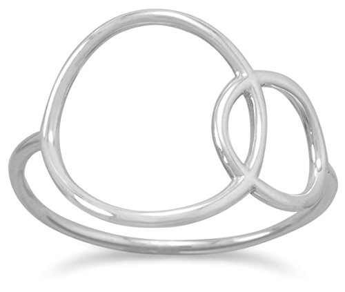 Rhodium Plated Sterling Silver Overlapping Circles Ring, Sizes 5-10, 15.2mm - Bow Circle Satin Ladies