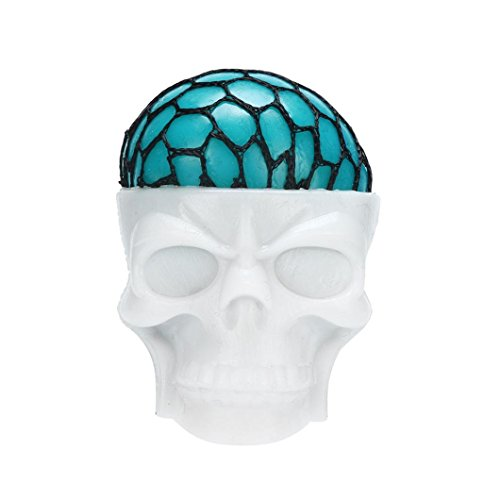 Fiaya Mesh Squeeze Ball, Non-Toxic Funny Pressure Squishy Skull Popping Out Squeeze Ball Stress Reliever Toy - Ball Squishy Skull