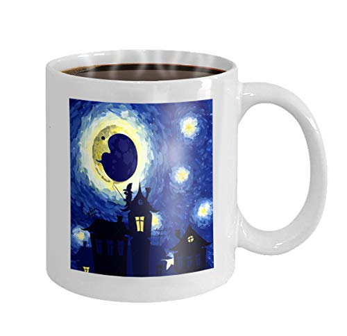 11 oz Coffee Mug starry night style van gogh halloween background Charming Novelty Ceramic Gifts Tea -