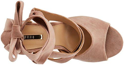 Monno para Mujer Tarento Zapatos Abierta Shoes Tacón Terciopelo Punta con Rosa de r8xqrZwOz