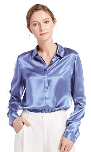 LilySilk Women's 100 Silk Blouse Long Sleeve Lady Shirt 22 Momme Charmeuse Silk (French Blue, Medium)
