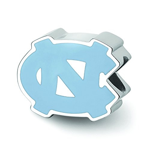 (LogoArt Sterling Silver North Carolina Tar Heels 1-Sided ENAMELED Bead)