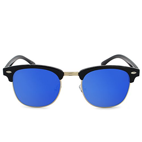 Clubmaster Lunettes cerclées de Classique Klaxon Glace Rétro Soleil Noir AMZTM Cadre Bleue Semi Lentille Polarisées xgwBBq
