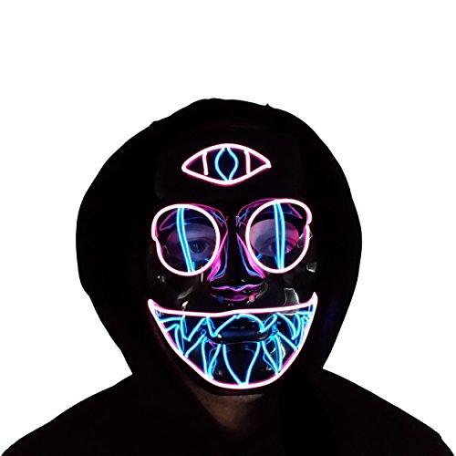 Trippy Lights LED Light up El Wire Mask Cotton Candy Chakra Cat Rave Festival Halloween Mask -