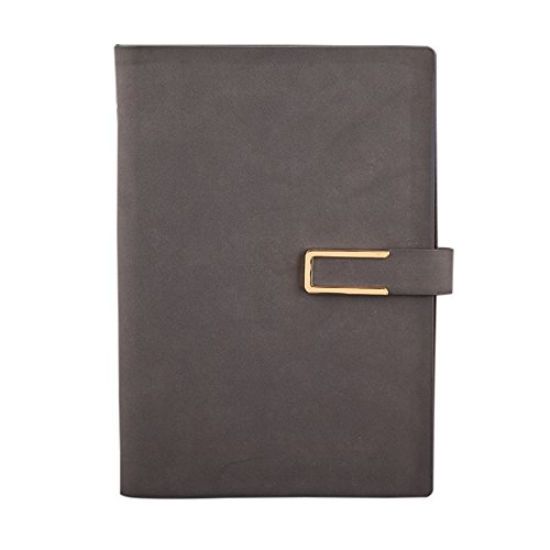 WSLCN Spiral Bound Notebook A5 Loose-leaf PU Leather Cover Journal Diary Notepad Memo Book Loop Folder Organizer Stationery Calculator Card Slot Grey 233184mm
