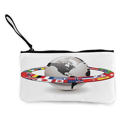 World,Canvas Print Wallet Earth Planet with Orbit made from National Flags International Composition Countries W 8.5