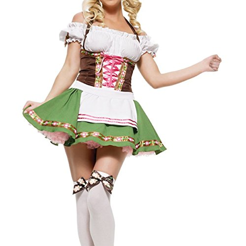 Beer Girl Sexy Costumes (Quesera Women's Beer Girl Costume Oktoberfest Serving Wench Adult Dirndl Dress,Green,Tag size XL=US size Large)