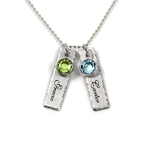 Sterling Personalized Charms Silver - Unity in Two Personalized Charm Necklace. Customize 2 Sterling Silver Rectangular Pendants with Names of Your Choice. Choose 2 Swarovski Birthstones, and 925 Chain. Makes Gifts for Her
