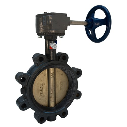 NIBCO LD-2000-5 Series Ductile Iron Butterfly Valve with EPDM Liner and Aluminum Bronze Disc, Gear Operator, Lug, 12'' by Nibco