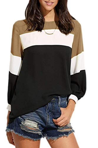 Printemps Brown Elgante Manches Mode Haut Bouffant Mlanges Longues Col Confortable Couleurs Loisir Spcial Pullover Chemise Tops Rayures Branch Rond Femme Style 50wxRp4Rnq