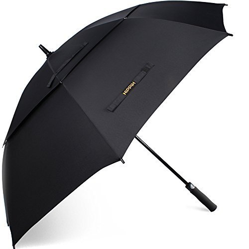 Hippih 62 Inch Automatic Open Golf Umbrella Extra Large Oversize Double Canopy Vented Windproof Waterproof Stick Umbrellas with Black Carrying Sleeve