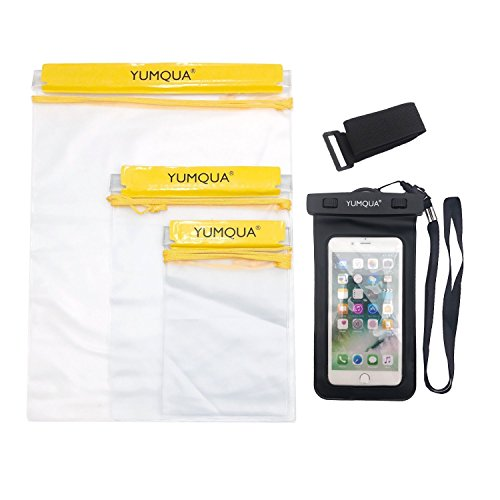 - YUMQUA Clear Waterproof Bags, Water Tight Cases Pouch Dry Bags + Waterproof Phone Pouch with Armband for Camera Mobile Phone Maps Pouch Document Holder Kayak Military Boat- 4 Piece Set