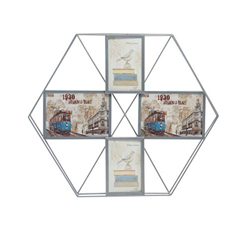 Silver Frame Transparent (Delica Home 4 Silver Collage Metal Picture Frames, Multi Photo Frame with Two 4x6 Photos and Two 7x5 Photos for Wall)