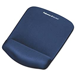 Fellowes PlushTouch Mouse Pad with Wrist Rest, Foam, Blue, 7-1/4\