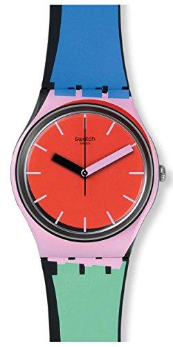 Swatch Originals A Cote Red Dial Silicone Strap Unisex Watch GB286 (Swatch Silicone Watch Mens)