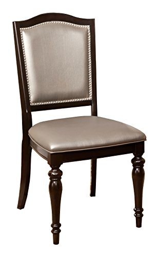 HOMES: Inside + Out Iohomes Arezza Metallic Upholstered Side Chair (Set of 2), Brown, Gray
