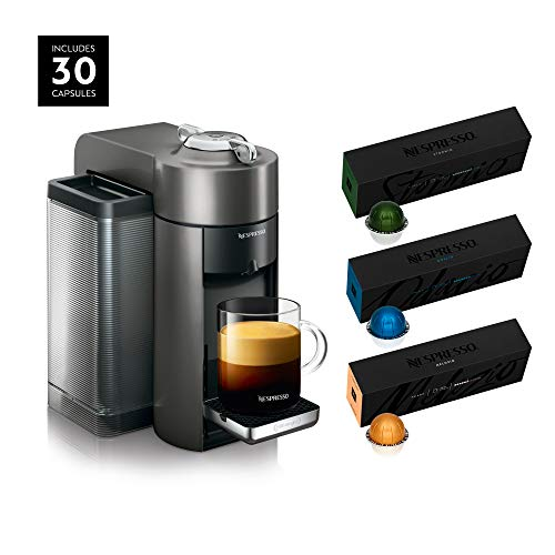 Nespresso ENV135GY Coffee and Espresso Machine by De'Longhi, Graphite Metal with Nespresso Vertuoline Coffee, Best Seller Assortment, 30 Capsules