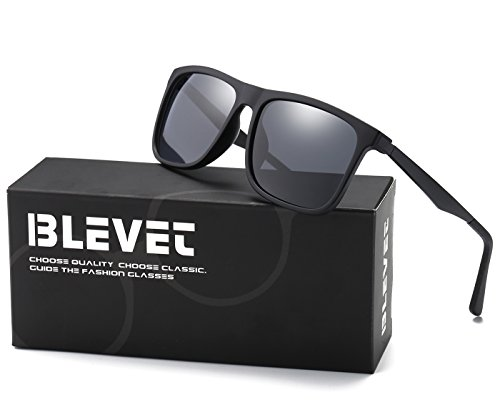 BLEVET Classic Retro Square Driving Polarized sunglasses Men Aluminum Magnesium Metal Legs Wayfarer Sun Glasses(Matte Black, - Black Matte Sunglasses Wayfarer