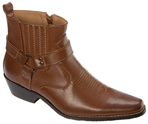 Alberto Fellini Western Style Boots New Upgrade PU-Leather Cowboy Brown Size 9.5