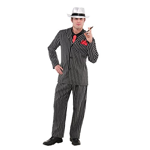 Mob Halloween Costumes (AMSCAN Mob Boss Halloween Costume for Men, Small/Medium, with Included)
