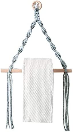 Uniquk Vintage Wall Hanging Wooden Stick Roll Paper Holder Towel Hanger Wall Mounted Paper Stand for Kitchen Grey