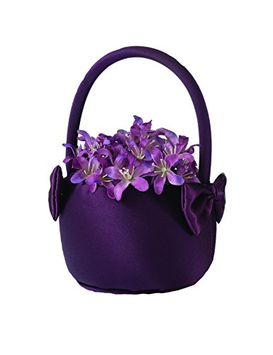 (Lillian Rose Simple Dark Purple Plum Wedding Flower Basket)