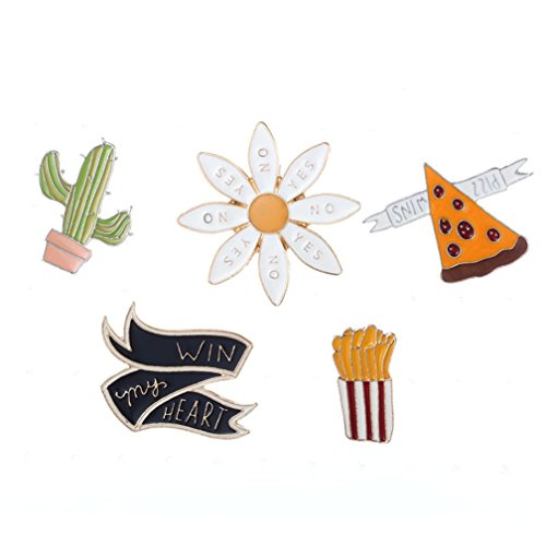 4EAELove Womens Girls Cartoon Enamel Brooch Set Cute Brooch Pin Badge for Clothing
