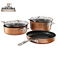 Gotham Steel Stackable Pots and Pans Set – Stackmaster 5 Piece Cookware Set with Ultra Nonstick Cast Texture Ceramic Coating, Saves 30% Space, Sauce Pans, Stock Pots, Skillets & More –Dishwasher Safe