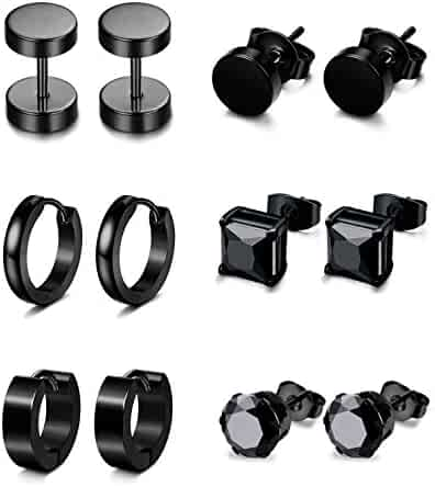 Jstyle 6 Pairs Stainless Steel CZ Stud Earrings for Women Mens Huggie Hoop Earrings Ear Piercing
