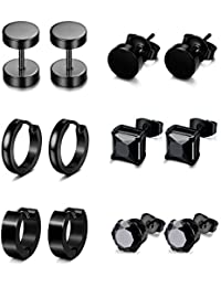 6 Pairs Stainless Steel CZ Stud Earrings for Women Mens Huggie Hoop Earrings Ear Piercing
