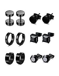 Jstyle 6 Pairs Stainless Steel CZ Stud Earrings for Women Mens Huggie Hoop Earrings Ear Piercing