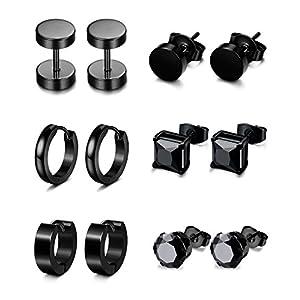 Jstyle 6 Pairs Stainless Steel CZ Stud Earrings for Women Mens Huggie Hoop Earrings Ear Piercing Black