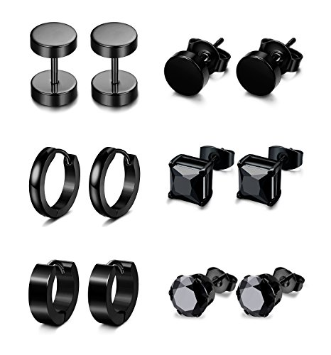 Jstyle+6+Pairs+Stainless+Steel+CZ+Stud+Earrings+for+Women+Mens+Huggie+Hoop+Earrings+Ear+Piercing+Black